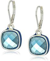 Anne Klein Silver-Tone and Blue Button Single Drop Earrings