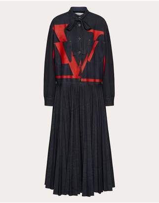 Valentino Vlogo Pleated Denim Dress