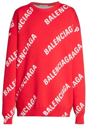 Balenciaga Oversized Logo Wool-Blend Knit Sweater