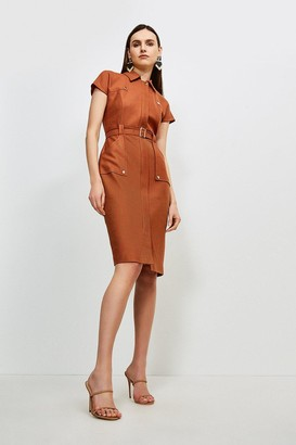 Karen Millen Luxe Stretch Twill Utility Dress