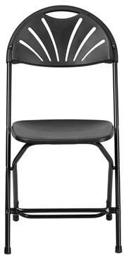 Offex Fan Back Metal Folding Chair Offex Color: Black