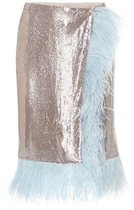 Christopher Kane Feather-trimmed mesh midi skirt