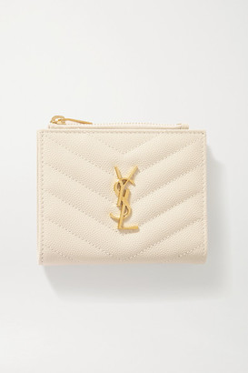 Saint Laurent Monogramme Quilted Textured-leather Wallet - Off-white