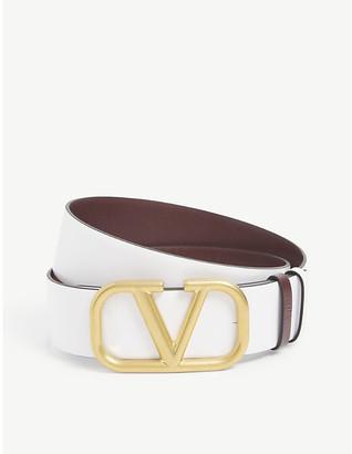 Valentino V-ring branded reversible leather belt