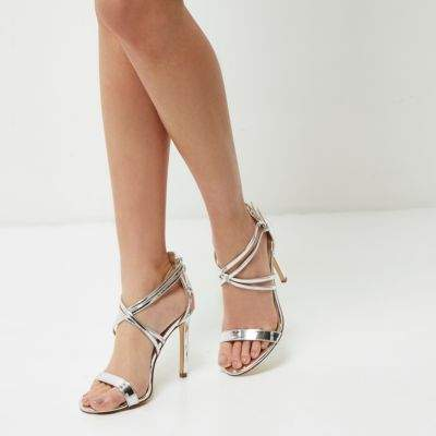 River Island Womens Silver metallic barely there strappy heels