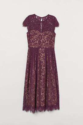 H&M Calf-length Lace Dress - Red
