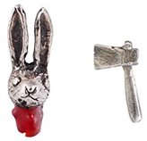 Momocreatura Women's Oxidised Sterling Silver Rabbit Head and Axe Stud Earrings