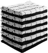 Ringspun Utopia Towels Kitchen Towels (12 Pack, 15x25 Inch) Pure Cotton Machine Washable 6 Black and 6 White Dobby Weave Kitchen Dish Cloths, Tea Towels, Bar Towels