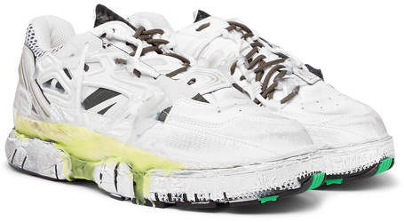 Maison Margiela Fusion Distressed Leather And Mesh Sneakers