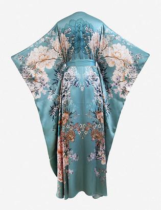 MENG Floral-print wrap silk kimono