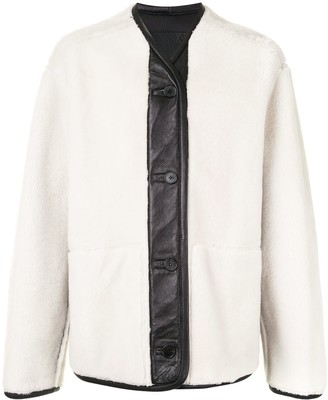 Oamc Faux-Leather Trim Shearling Coat