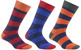 John Lewis Rugby Stripe Socks, Pack Of 3, Multi