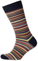 Navy Multi Fine Stripe Socks Size Large By Charles Tyrwhitt