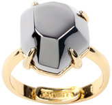 18ct Gold Plated Gunmetal Solitaire Gemstone Ring