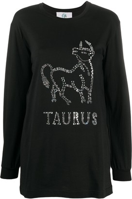 Alberta Ferretti Taurus embellished long sleeve top