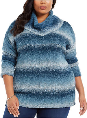 Style&Co. Style & Co Plus Size Ombre Cowl-Neck Sweater