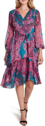 Tahari Print Chiffon Long Sleeve Dress