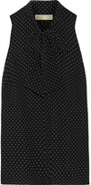 MICHAEL Michael Kors Pussy-bow Polka-dot Georgette Top - Black