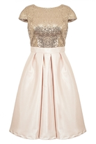 Quiz Champagne Sequin Cap Sleeve Satin Dress