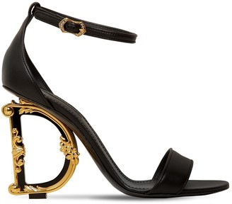 Dolce & Gabbana 100MM LOGO HEEL LEATHER SANDALS