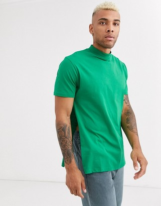 Asos DESIGN relaxed longline t-shirt with side splits in green