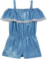 Design History Girls Girl's Fringe-Trim Cold-Shoulder Romper, Size S-XL
