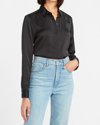 Express Textured Satin Long Sleeve Portofino Shirt