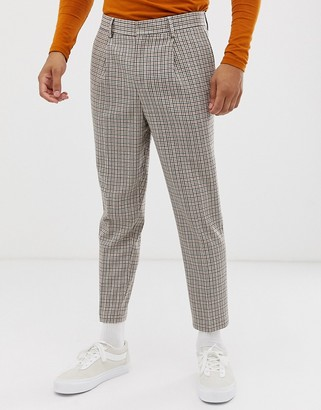 ASOS DESIGN drop crotch tapered crop smart pants in wool mix in beige