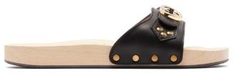 Gucci Shiner Gg Logo Leather Slides - Black