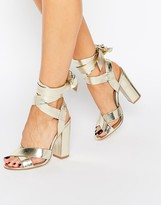 Truffle Collection Truffle Tie Ankle High Block Heel Sandals