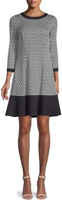 Eliza J Three-Quarter-Sleeve Geometric-Print Fit--Flare Dress