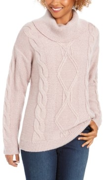 Charter Club Cowl-Neck Cable-Knit Glitter Sweater, Created for Macy's