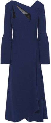 Roland Mouret Wrap-effect Lace-trimmed Wool-crepe Midi Dress