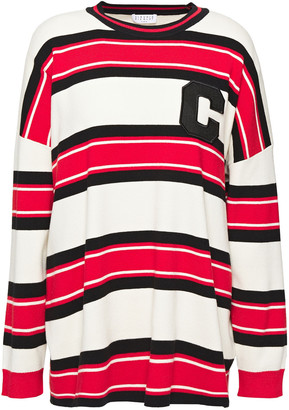 Claudie Pierlot Appliqued Striped Knitted Sweater