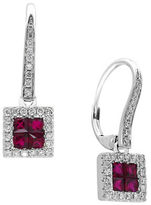 Effy Ruby, 14K White Gold and 0.27 TCW Diamond Earrings