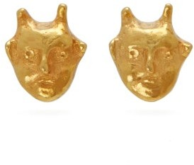 Georgia Kemball - Goblin Gold Stud Earrings - Mens - Gold