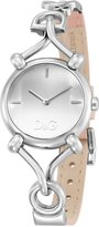 Dolce & Gabbana Flock Pink Genuine Leather Strap Silver-tone Dial Women's Watch #DW0497