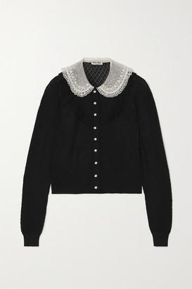 Miu Miu Crystal-embellished Ruffled Cashmere And Silk-blend Cardigan - Black