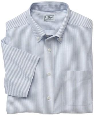 L.L. Bean L.L.Bean Men's Wrinkle-Free Classic Oxford Cloth Shirt, Traditional Fit Short-Sleeve University Stripe