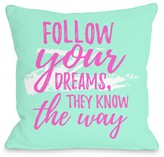 Follow Your Dreams Mint Decorative Pillow by OBC