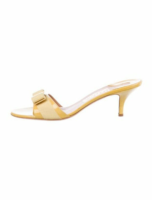 Salvatore Ferragamo Vara Bow Accent Patent Leather Slides Yellow