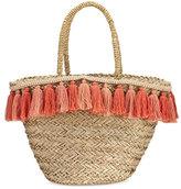 Flora Bella Wilmington Tassel-Trim Beach Tote Bag, Beige