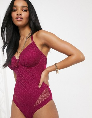 Pour Moi? Pour Moi Fuller Bust Castaway halter underwired swimsuit in berry