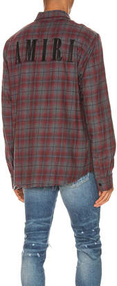 Amiri Flannel Shirt in Burgundy | FWRD