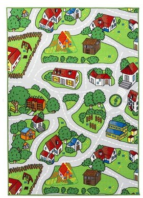 """Zoomie Kids Swanger Soft City Roads Camping Site Animals Fun Power Loom Gray/Green Rug Rug Size: Rectangle 2'7"""" x 4'10"""""""