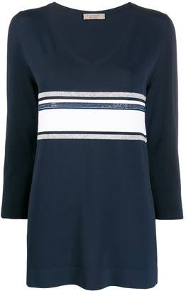 D-Exterior Striped 3/4 Sleeve Jumper