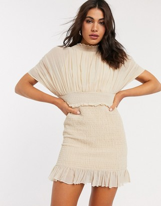 ASOS DESIGN pleated blouson mini dress wth shirred skirt in cream
