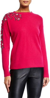 Neiman Marcus Floral Embellished Cashmere Crewneck Sweater