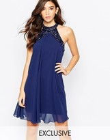 Lipsy Embellished High Neck Babydoll Swing Dress