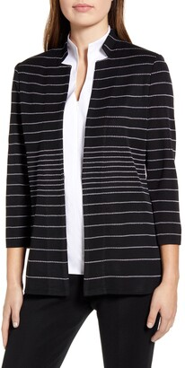 Ming Wang Stripe Inverted Notch Collar Jacket